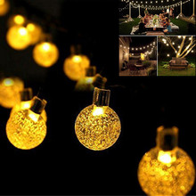New 20 LEDS 5M Crystal ball Solar Lamp Power LED String Fairy Lights Garlands Garden Christmas Decor For Outdoor
