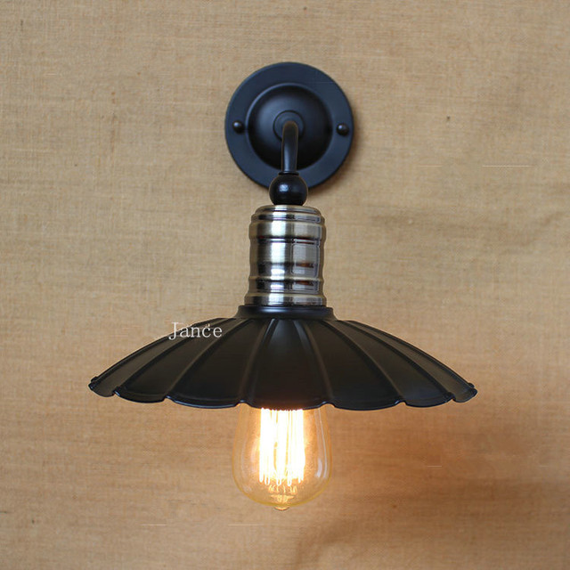 bathroom light fixture black iron lampshade American loft retro wall ...