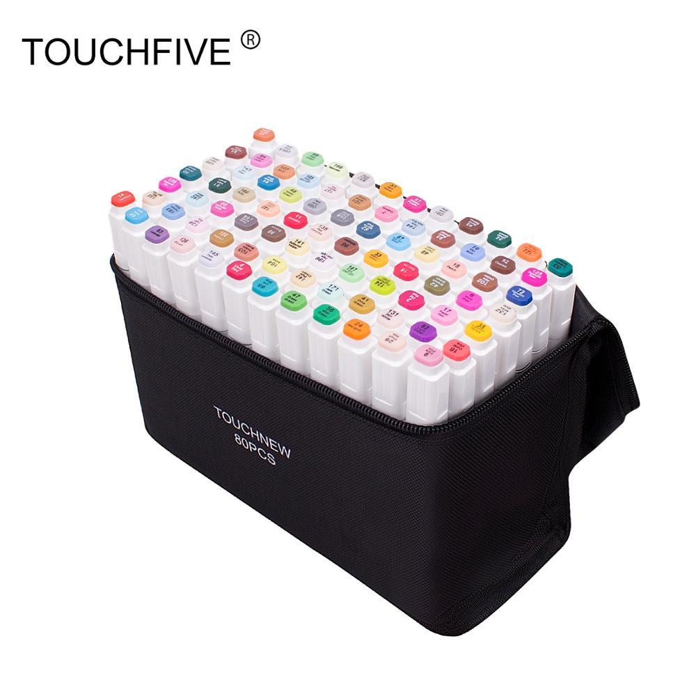 Marcadores touchfive para o desenho 30/40/60/80/168 cores álcool baseado marcador de arte ponta dupla caneta escova manga escrita caligrafia caneta
