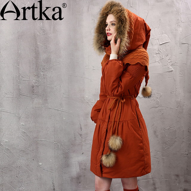 Artka Women's Winter New Patchwork Padded Coat Vintage Hooded Outerwear Lantern Sleeve Cinched Waist Padded Coat MA10152D