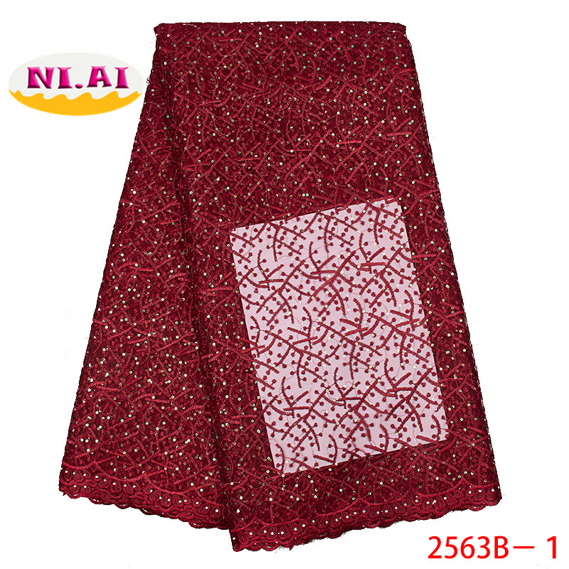 African Lace Fabric 2019 High Quality Lace French Laces Fabrics Tulle Nigerian Wine Sequin Lace MR2563B