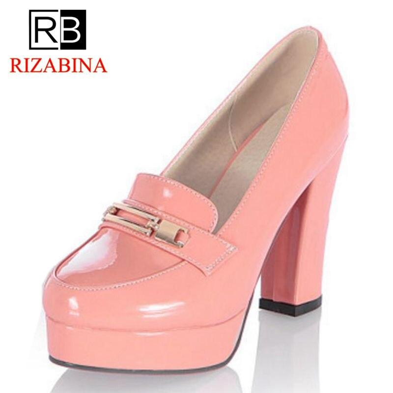 094619c7 RIZABINA envío gratis del alto Talón de las mujeres zapatos de mujer zapatos  de plataforma de moda bombas de oficina vestido Sexy dama calzado P11125  tamaño ...