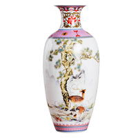 Antique Jingdezhen Vintage Ceramic Vase Desk Accessories Crafts Pink Flower Traditional Porcelain Chinese Vase