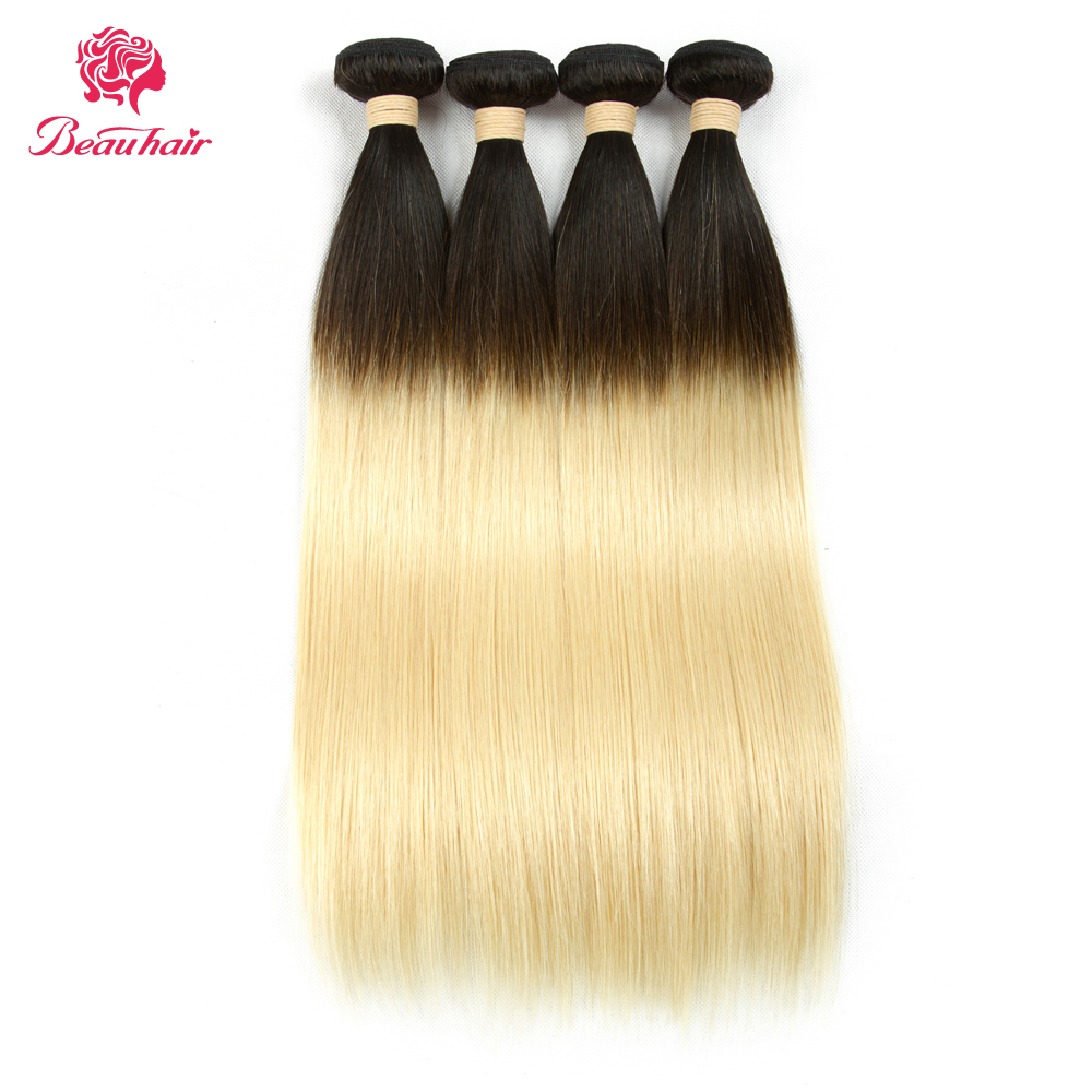 Beau Hair Ombre 1b 613 Dark Roots Blonde Brazilian Non Remy Hair Extension Straight 100% Human Hair Weave Bundles Double Wefts