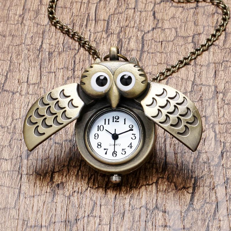 Cartoon Cute Bronze Vintage Night Owl Necklace Pendant Quartz Pocket Watch Necklace P27