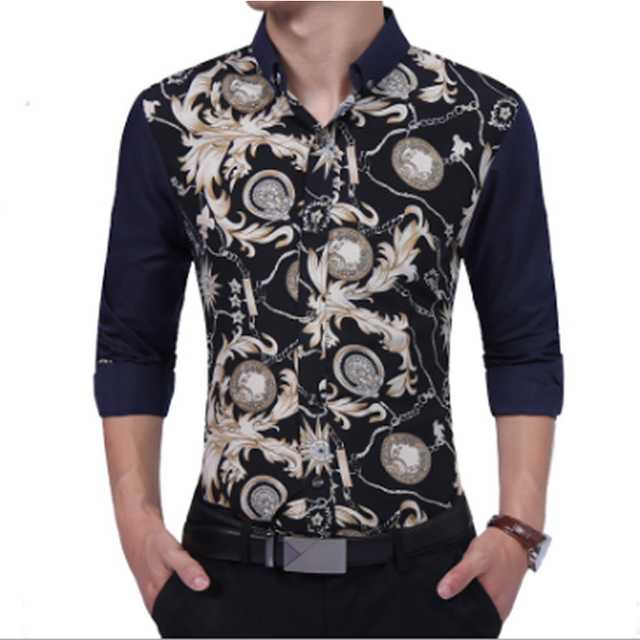 93dbefad1ac66e New 2018 Spring Summer Mens Floral Long Sleeve Shirts Gold Stitching Flower  Shirts For Men Casual Business Fashion Fancy Men's