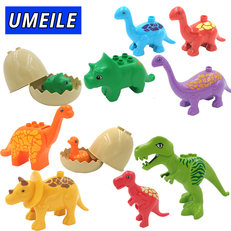 UMEILE Duplo Jurassic World Dinosaur Large Particle Building Blocks Baby Toys Animal Set Brick Compatible with Duplo Gift chongqing quality crankcase mainbody for 152f 2 5hp 97cc gasoline engine 1kw generator spare parts