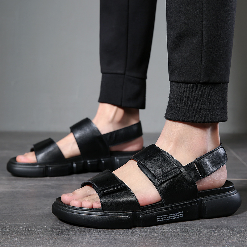 Cow Leather Sandals Men Summer Shoes Fashion Mens Beach Sandals Genuine Leather Black Sandals Thick Sole High Quality KA1355