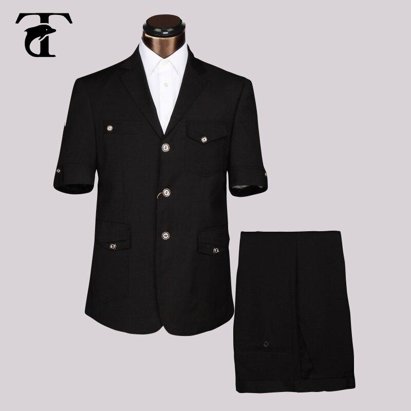 Safari Courtes Masculin Noir Manches Costume Uniforme Bureau Costumes Fantaisie D'été Hommes Blazer Conception Usine Vêtements Vêtement 2016 À Pour gris kaki awqntx1BUf