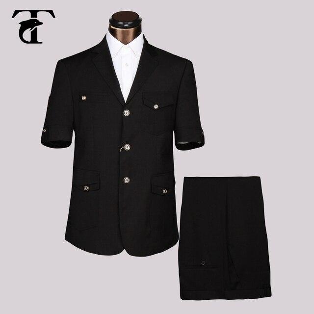 2016 Summer Short Sleeve Blazer Masculine Office Uniform Design Garment Factory Fancy Suits For Men Apparel Safari Suit