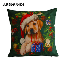 Fashion Christmas Cushion Covers Dog Cat Printed Vintage Animal Home Decorative Pillow Cover Simple Woven 45Cm*45Cm