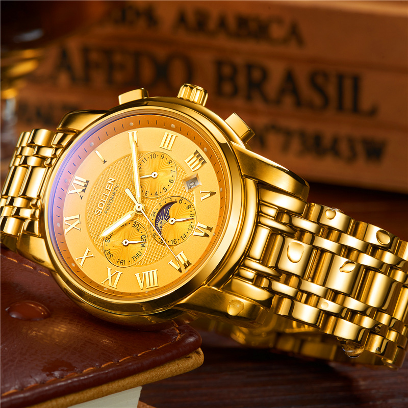 SOLLEN 2017 Skeleton Mechanical Watch Automatic Men Classic Gold Full Stainless steel Wrist Watches Reloj Hombre With Complete mce luxury fashion gold watch women high quality skeleton mechanical watch full stainless steel water resistant wrist watches