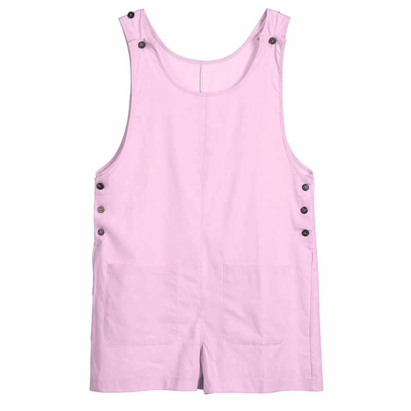 2019 Yeni Kadın Geniş Bacak kısa pantolon Playsuits Bohem Tarzı Rahat Düz Keten Tulumlar Bayanlar Seksi Bodysuits Plaj Kıyafeti W3