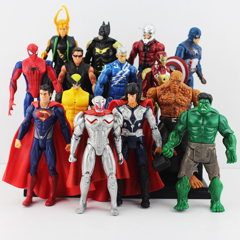 14pcs/lot 16cm The Avengers 2 Age of Ultron Hulk Hawkeye Captain America Thor <font><b>Batman</b></font> Spider man Action Figure Toys Gifts For Boy