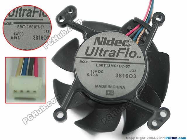 Nidec E60T13MS1B7-57 DC 13A 0.13A 4-Wire 4-Pin 60x60x25mm Server Round fan