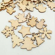 50pcs Wooden Christmas Decoration Christmas tree/Snowflake/Heart/Star Art Decor Scrapbooking Craft Lovely button for DIY Crafts