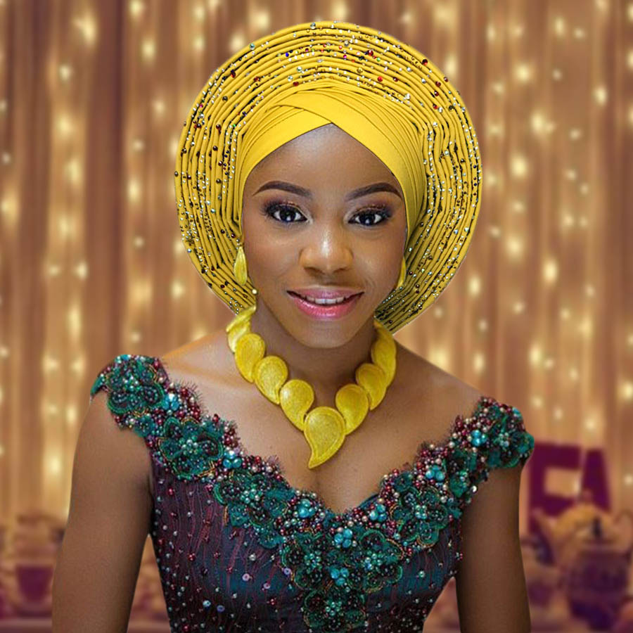 2018 New african aso oke cotton headtie nigerian gele headtie already made auto hele turban cap aso ebi big brim gele (13)