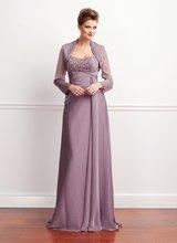 75-7 Elegant Sweetheart Long Sleeve Formal Beadeds Mother Dress With Jacket