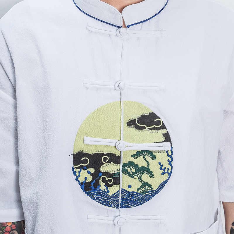 中国スタイルパターン刺繍男性綿リネンカジュアルシャツ男性スタンド襟ルーズ半袖シャツサイズ M-4XL