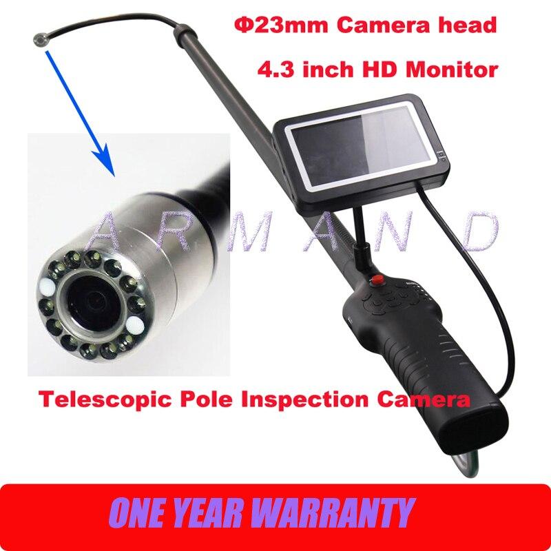 Télescopique Pôle Caméras D'inspection En Fiber De Carbone Poids Léger Flexible 23mm caméra Endoscope Industriel