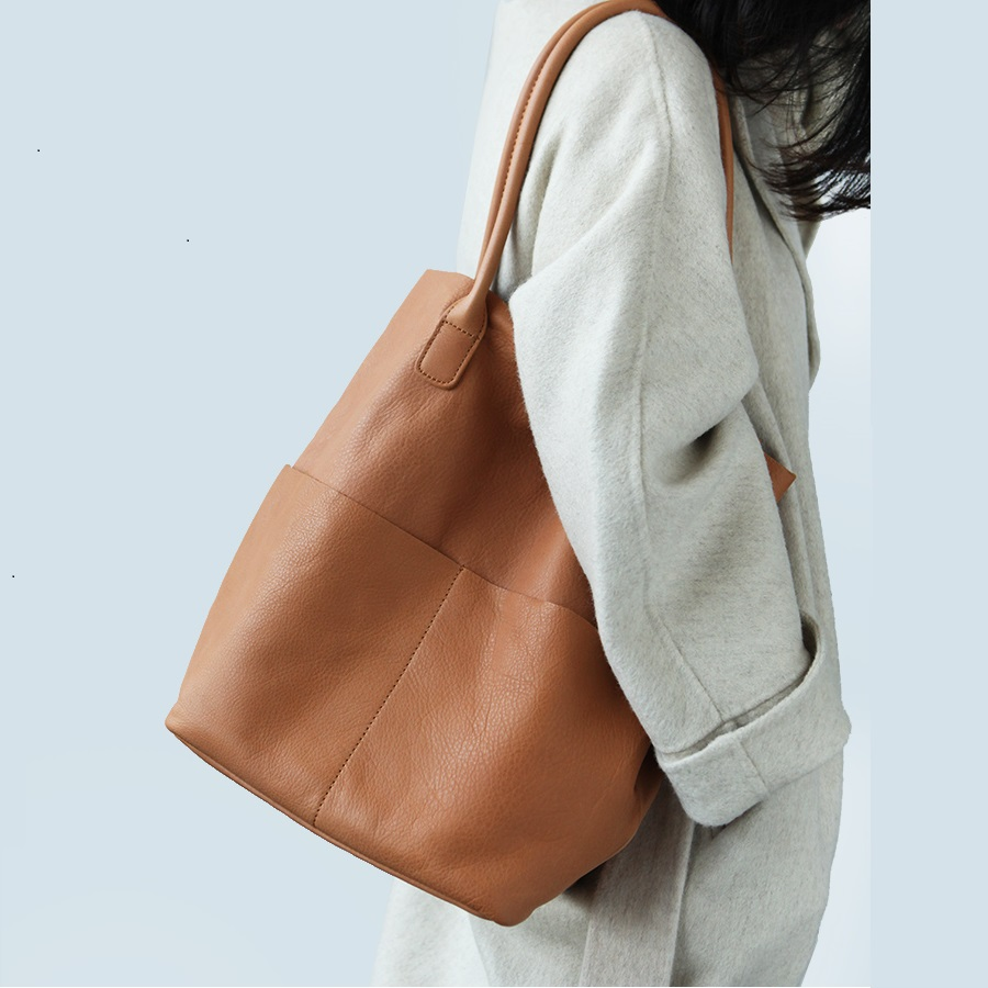 100% doux en cuir véritable femmes sacs à bandoulière mode grande capacité seau sac femme sacs à main de haute qualité dames sac à provisions - 4