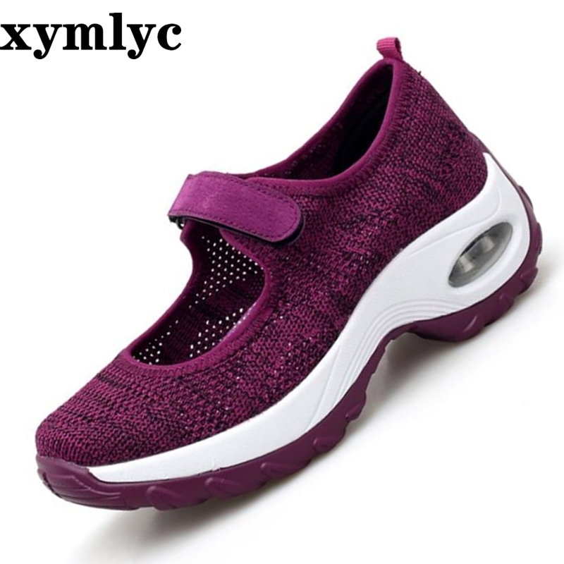 2019 Spring Casual Women Shoes Breathable Mesh Lace-up Shoes Women Flat Platform Sneakers Ladies Shoes chaussures femme(China)