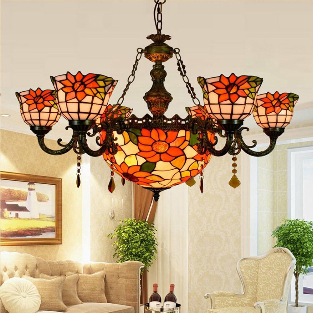 led e27 Tiffany Glass Alloy Slunečnice LED lampa LED Light.Pendant Light.Pendant Lamp.Pendant Light for Jídelna Foyer