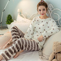 2017 Spring Winter Thick Coral Fleece Woman Pajamas Sets Sleep suits with pants Long Sleeve Female Cartoon Animal Home Clothing
