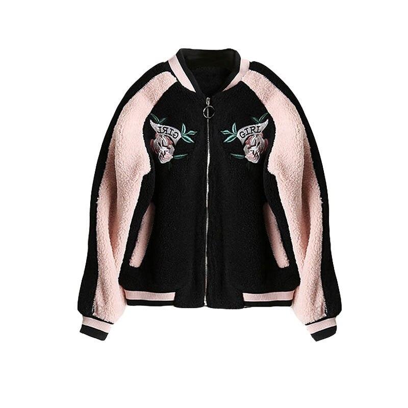Bomber Épais Oversize Manteaux Épaississent Lâche Laine Taekwondo Chaud Pink Manteau Japonais Cachemire D'agneau Femmes Hiver Brodé Caban En wpWxqaUn0O
