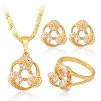 الذهب اللون الملونة مكعب الزركون قلادة الأقراط خاتم أزياء الزفاف والمجوهرات مجموعة ماركة للنساء بالجملة mgc PER255-80