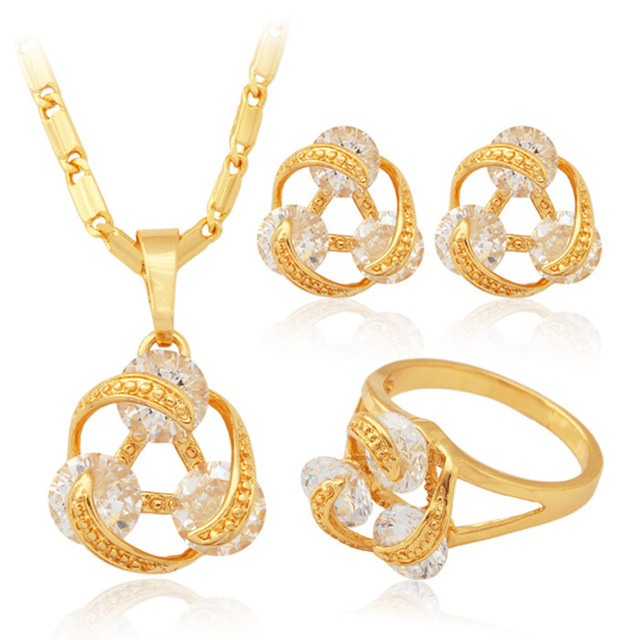 Gold Plated Colorful Cubic Zircon Necklace Earrings Ring Fashion Bridal Jewelry Set Brand For Women Wholesale MGC PER255-80