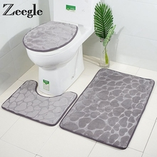 Zeegle 3Pcs/set Bathroom Mat Foam Sponge Bath Mat Anti-slip Bathroom Floor Mats Toilet Rugs Washable Bathroom Carpet Bath Rugs цена 2017