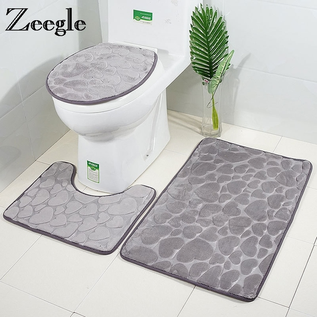 Zeegle 3Pcs/set Bathroom Mat Foam Sponge Bath Mat Anti-slip Bathroom Floor Mats Toilet Rugs Washable Bathroom Carpet Bath Rugs