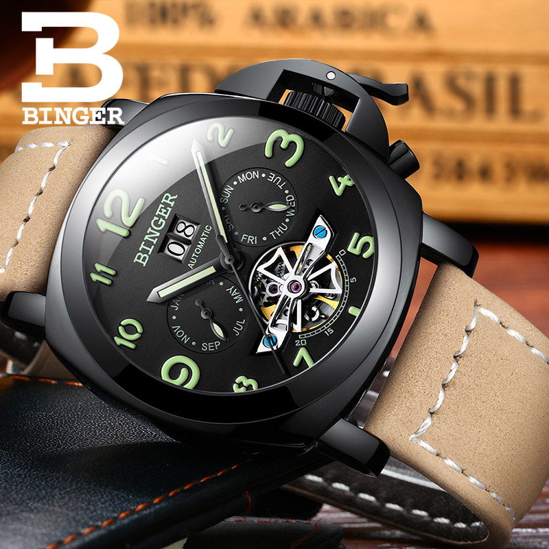 BINGER Men Watch Mechanical Tourbillon Luxury Fashion Brand Leather Sport Watches Mens Automatic Watch Male Relogio Masculino