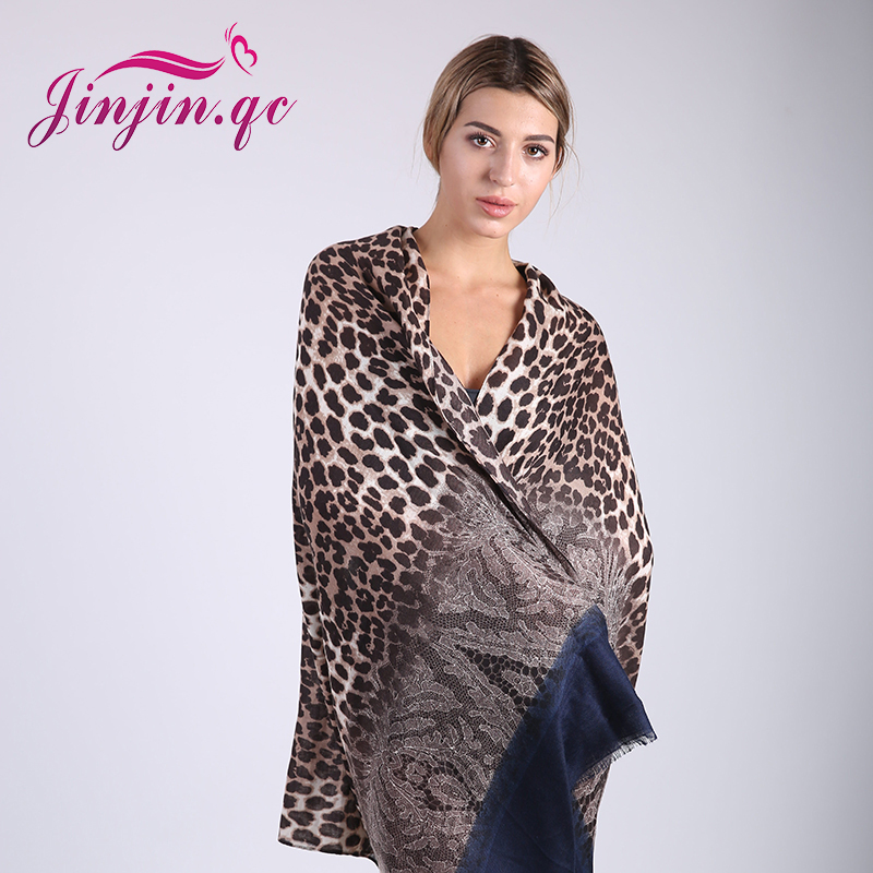 Jinjin.QC Brand Leopard Scarf Women Fashion Leopard Scarves och Wraps for Beach Animal Print Drop Shipping