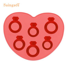 Saingace Diamond Ring Ice Shapes Silicone Ice Tray Fruit Ice Cube Maker Bar Kitchen Accessories 1PC