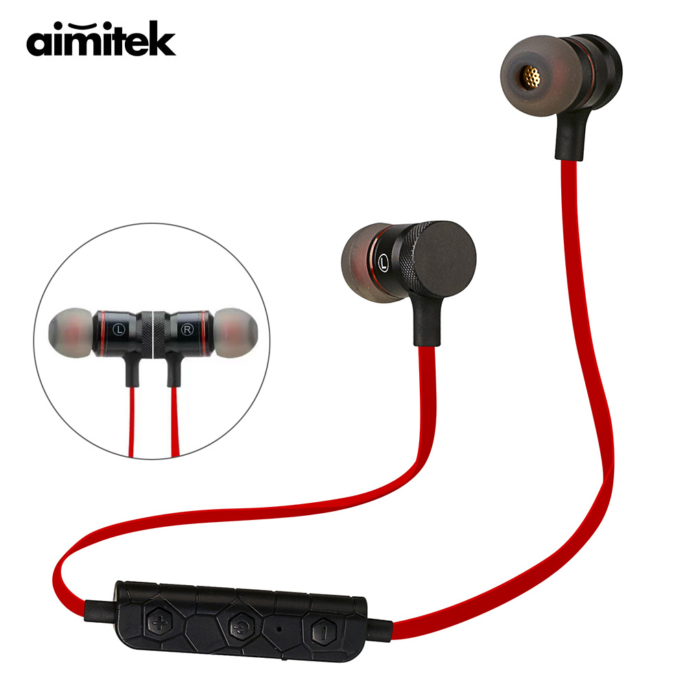 Aimitek Magnetic Wireless Earphones Bluetooth Sports Headsets Stereo Music Headphones Running Earbuds for iPhone Xiaomi Samsung