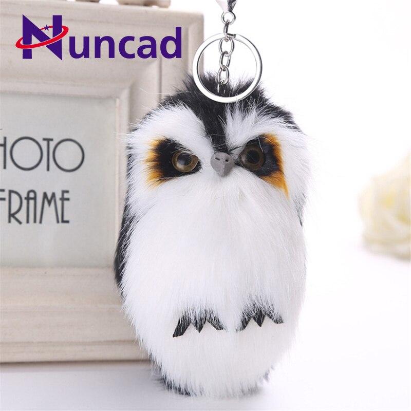 Cute Animal Owl Fluffy Key Chain Faux Rabbit Fur Ball Pom Pom Charms Keychain Car Key Ring Pendant Jewelry