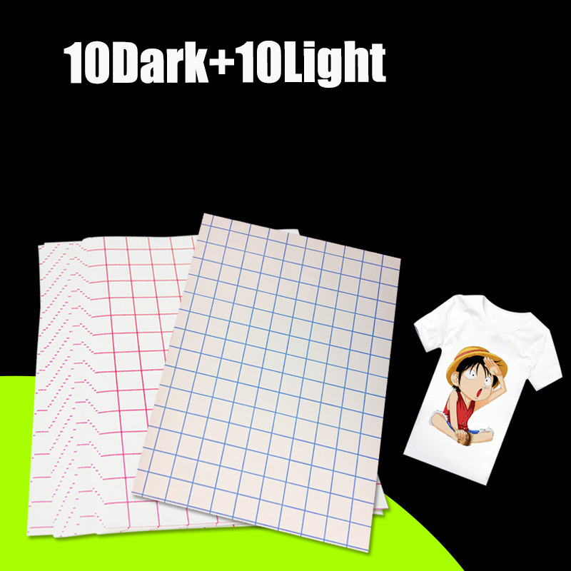 Laser Transfer Paper A4 Paper Heat Thermal Hot Transfer Printing Paper Stickers With Heat Press For t-shirt 10 Light+10 Dark 38 38cm heat transfer machine laser cutting t shirt hot press small heat press machine hp230a
