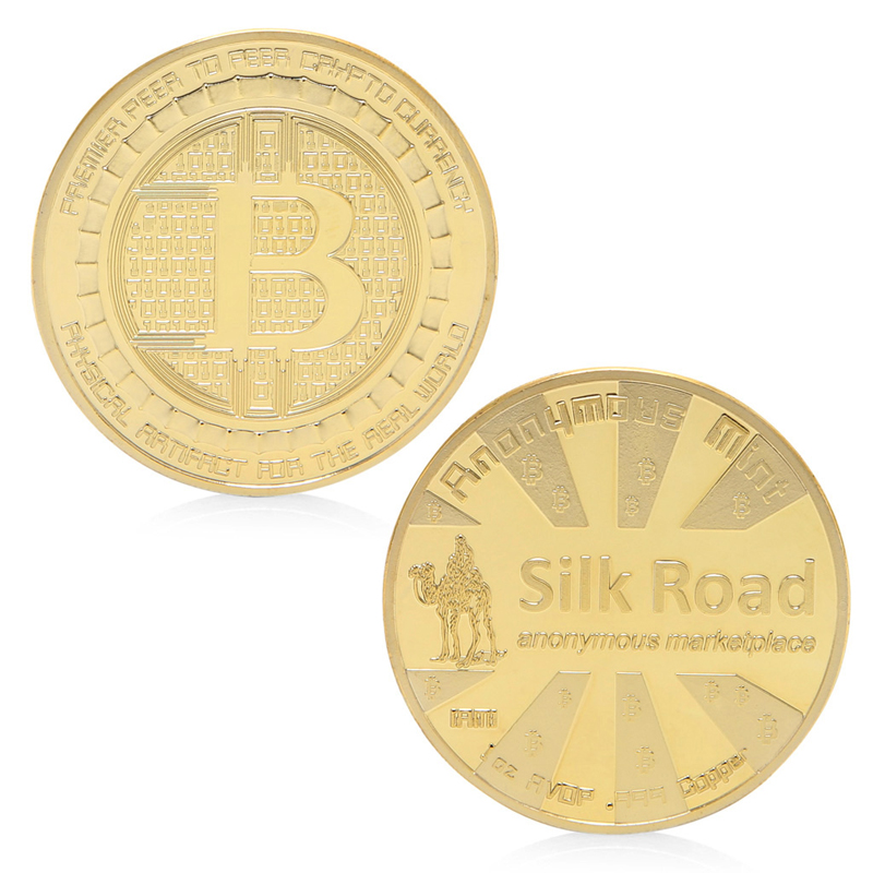 2017 SilkRoad Bitcoin BTC Coin Gold Plated Commemorative Coins Collectible Art Gift Jun23_30-2F