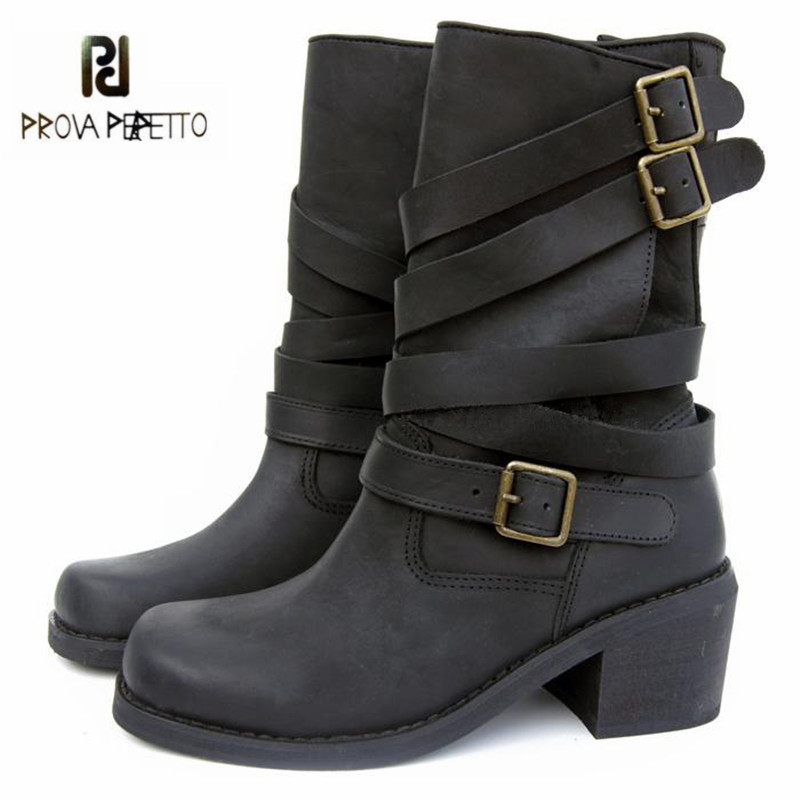 Prova Perfetto Black Handmade Women Genuine Leather Mid-calf Boots Buckle Straps Martin Boots Women Platform Rubber Shoes Woman prova perfetto winter women warm snow boots buckle straps genuine leather round toe low heel fur boots mid calf botas mujer