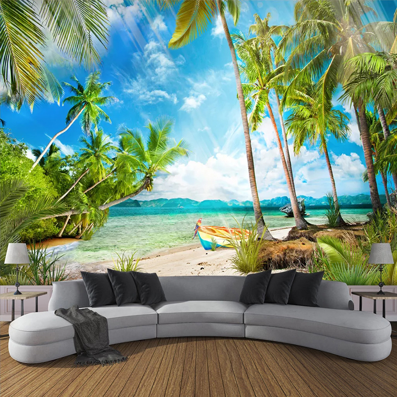 Custom Photo Mural Wallpaper For Bedroom Walls 3D Sandy Beach Coconut Tree Seascape Living Room Sofa TV Background Wall Painting