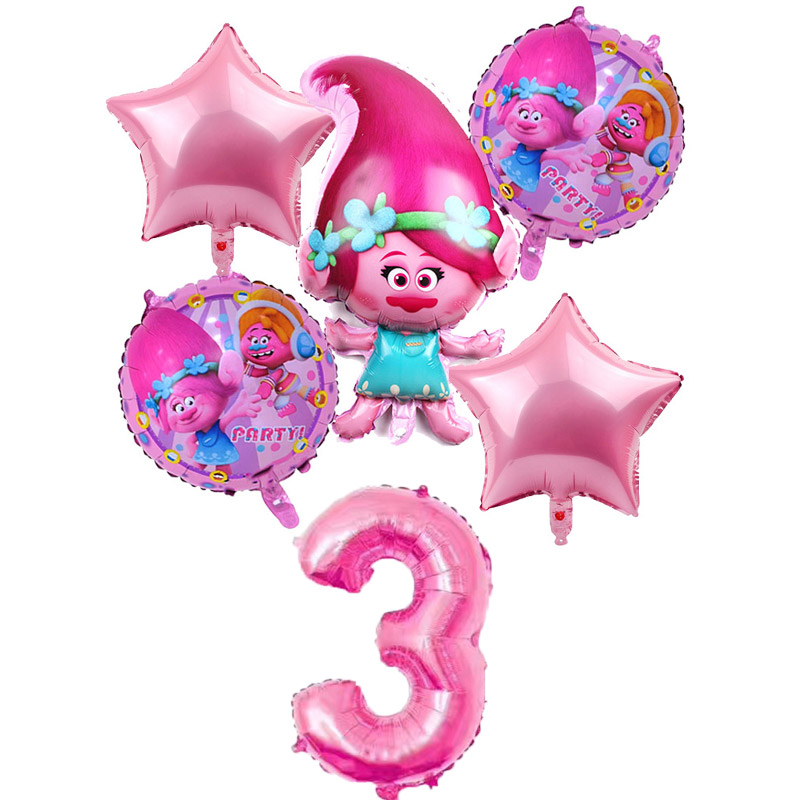 6 Pcs/lot Trolls Balloons Baby Happy Brithday Helium Foil Air Balloon Wedding Supplies Decoration Birthday Party Children's Gift