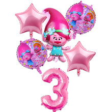 6 pcs/lot Trolls Balloons Baby Happy Brithday Helium Foil Air Balloon Wedding Supplies Decoration Birthday Party Childrens Gift