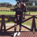 Lvinmw 2016 Autumn Women Set Letter Print Hollow Out Solid Black Fitness Short Suits+Elastic Capris Long Pants 2 Piece Sweatsuit