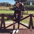 Lvinmw 2016 Otoño Conjunto de Las Mujeres Carta Imprimir Hollow Out Solid Negro Fitness Trajes Cortos + Capris Elásticos Pantalones Largos 2 Unidades Sweatsuit