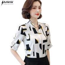 Blusa elegante de chifón de manga corta de verano 2019, blusas con cuello en V con estampado de nueva moda, tops de talla grande para mujer de oficina