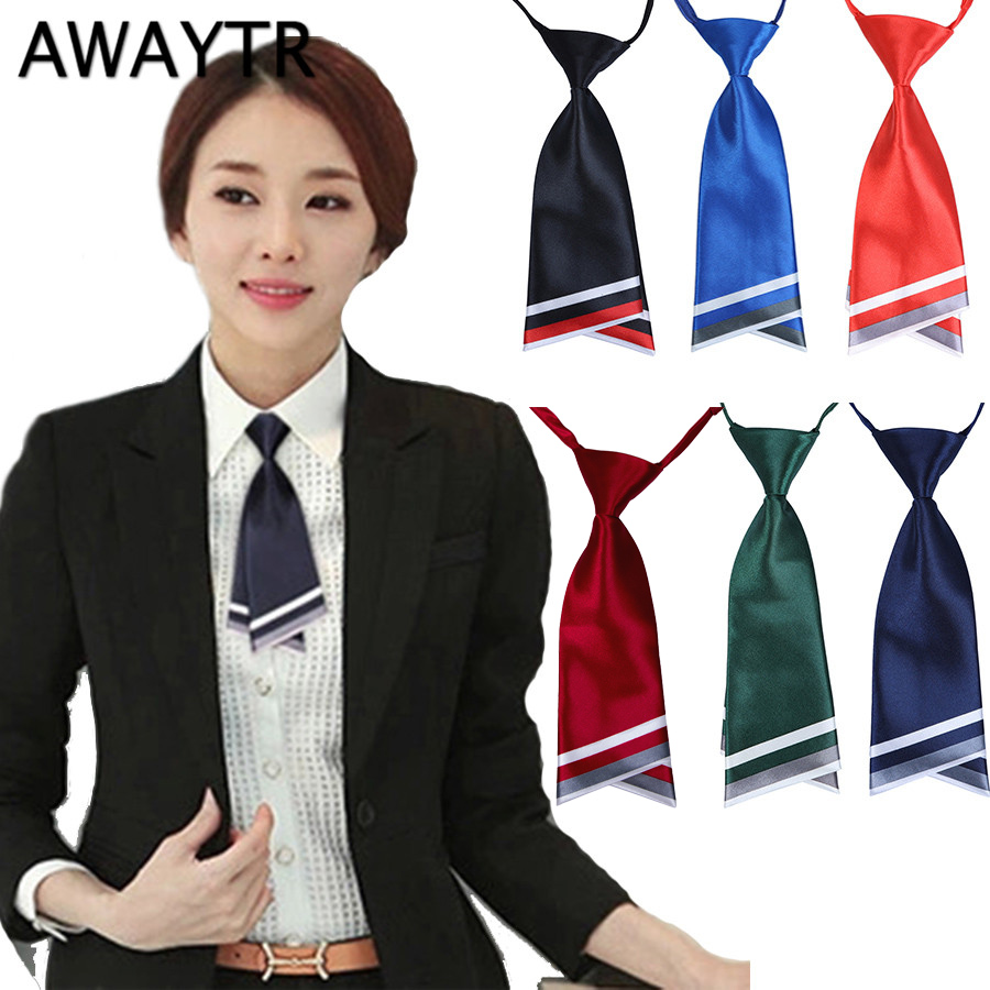 AWAYTR Women Short Ties Striped Neck Ties Business Casual Cross Tie Formal Dress Men Wedding Metal Collar Cross Tie
