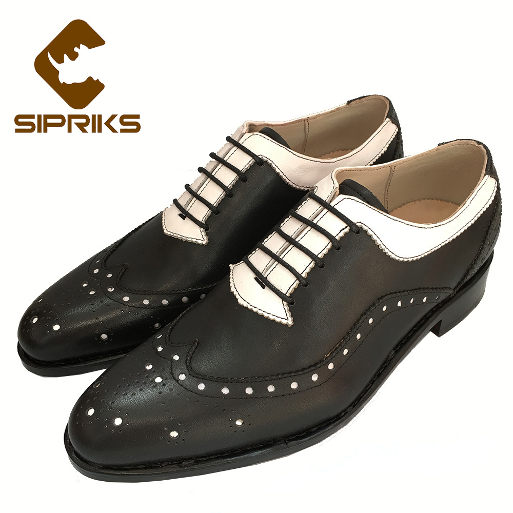 Sipriks mens goodyear welted shoes italian bespoke brogue oxfords white and black formal leather shoes for men wingtip dress new top quality crocodile grain black oxfords mens dress shoes genuine leather business shoes mens formal wedding shoes