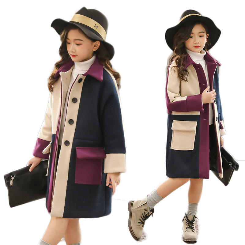 Autumn Winter Children's Jacket Girls Warm Thick Coats Baby Loose Overcoats Kids Plaid Clothes Infant Patchwork Cardigans G265